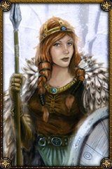"""Freyja (from Age of Mythology) """"is a Norse Classical Age Minor God. Freyja allows for powerful support units. She improves the speed and HP of cavalry. This allows them to be more effective at raiding enemy settlements which in turn allows for the creation of more favor. Her Myth Unit, the Valkyrie, is decent in combat but has the crucial ability to heal wounded units. This is the only way for the Norse to heal their units other than with a Healing Spring, obtained through worshipping…"""