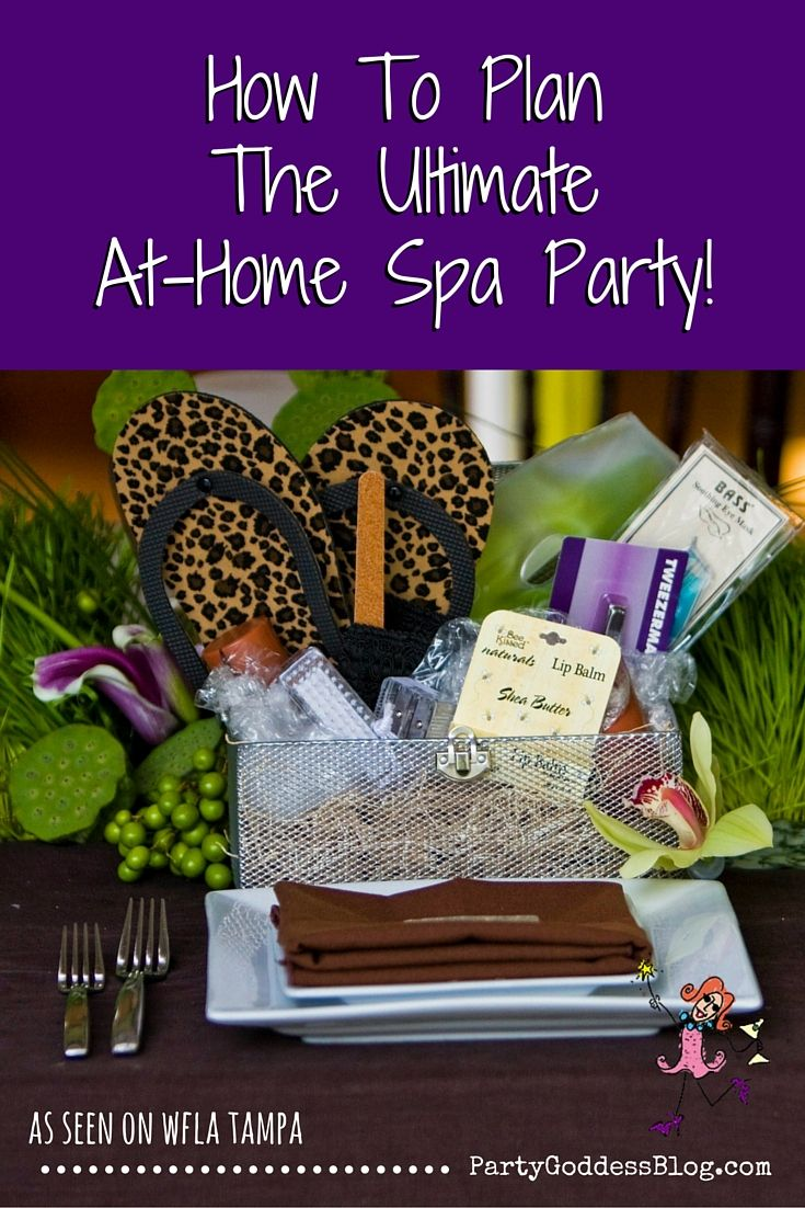 How To Plan The Ultimate At-Home Spa Party - Want the spa without the high price? The Party Goddess, LA's full service event planner reveals inexpensive tips to make your spa party ridiculously fab! - Check it out at http://thepartygoddess.com/how-to-plan-the-ultimate-at-home-spa-party @wfla8tv #wfla #spa #divas