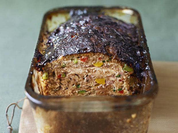 Bobby Flay's balsamic-glazed vegetable and turkey meatloaf. I've got this bad boy in the oven and it smells AMAAAAZING.