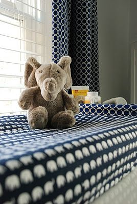 navy blue white elephant pattern baby boy nursery room: