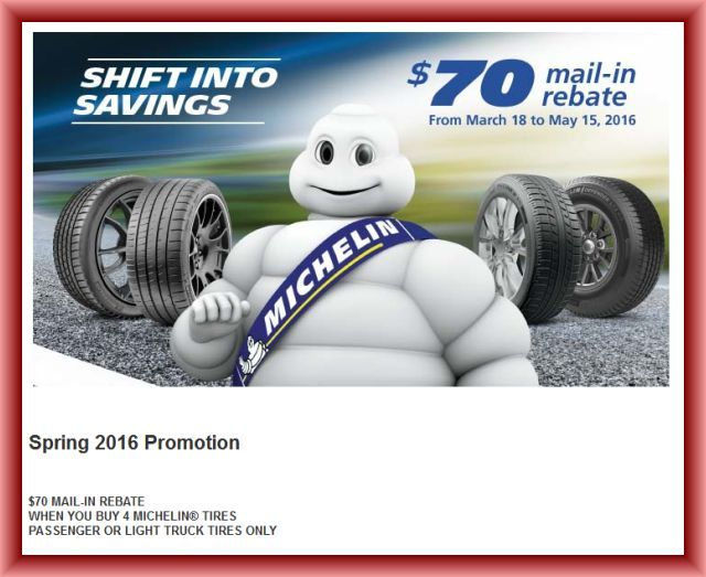 Michelin Tire Rebate >> Michelin Tire Rebate April To May 2016 Discount Tires