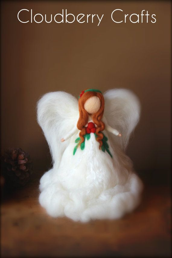 Tree Top Christmas Angel with Holly Berry Decorations, Red Haired Guardian Angel, Needle Felted Christmas, Fairy, Woollen Xmas, Tree Topper