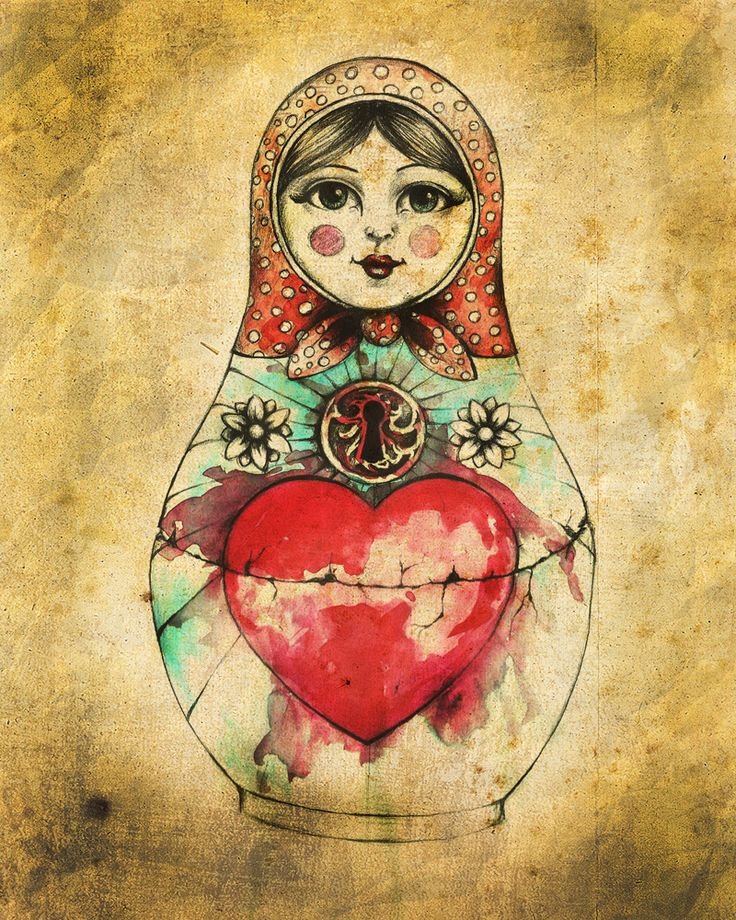 Russian Doll - Matroschka Zeichnung mit großen Herz, Vintage Style