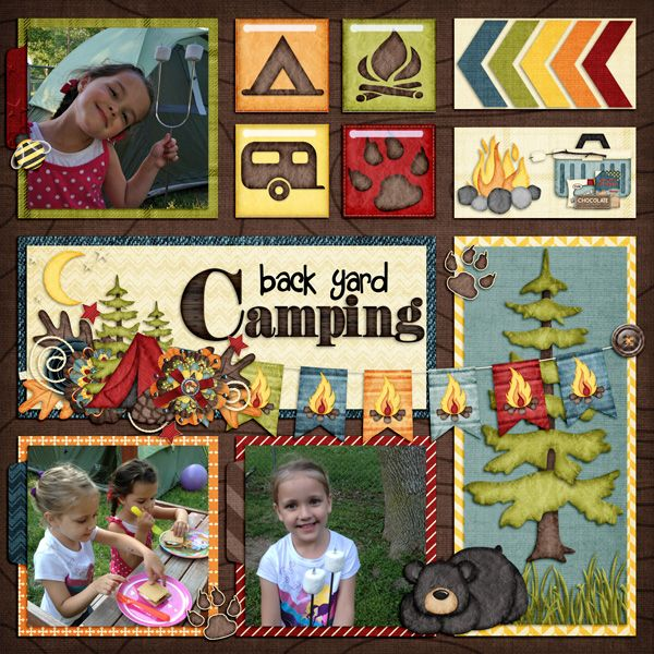 "Adorable ""Back Yard Camping"" Scrapbooking Page...KingsQueen82: Scrapbook.com."