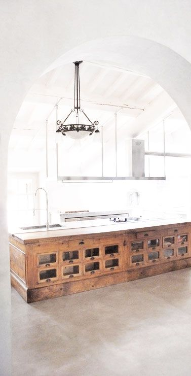 = reclaimed vintage shop counter = kitchen bench