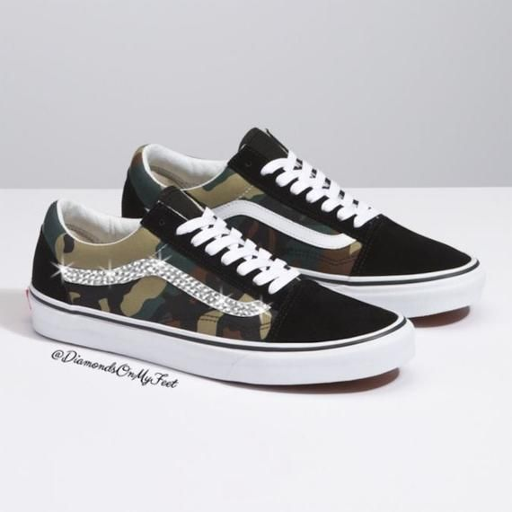 9964171c9fdec Swarovski Women's Vans Old Skool Green Camouflage Low Shoes Sneakers ...