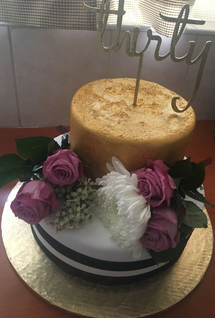 Black, white & gold 30th birthday cake. MadeByMe MadeWithLove for Kelly