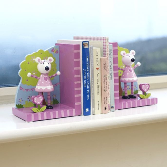 Pink Mouse Wooden Book Ends