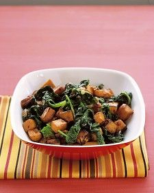 Sauteed Sweet Potatoes and Spinach. Sweet potatoes are available sporadically year-round, but they're at their sweetest in fall and winter. They are sometimes mislabeled as yams, which are actually not widely available in North America.