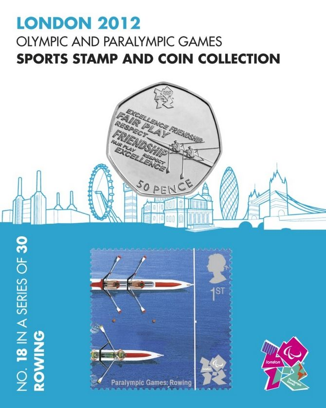 Sports stamp and coin collection - Rowing