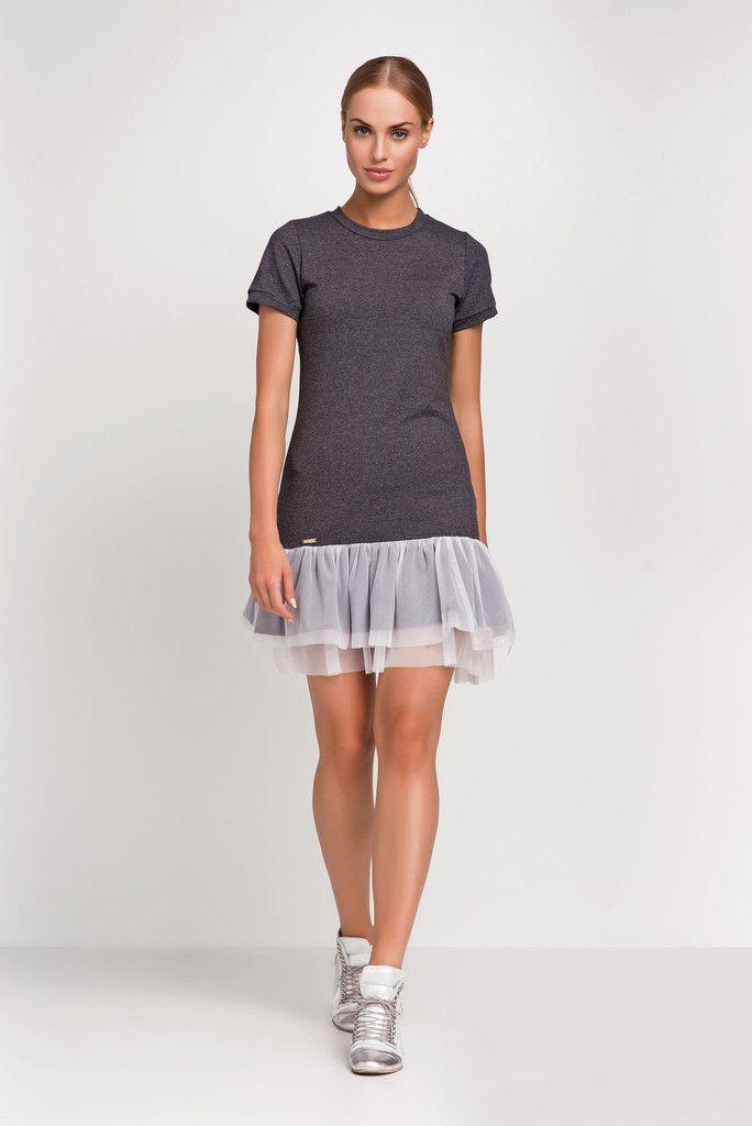 Summer Sport Dark Grey Dress Wiht Mash Frill – Kiss and Belle Boutique