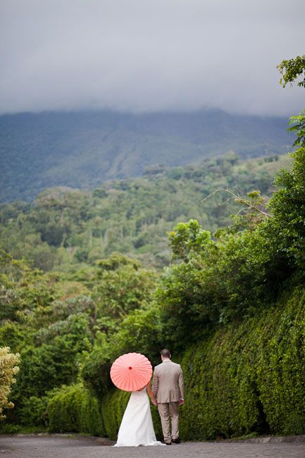 Costa Rica Destination Wedding - a stroll amidst the lush rain forest.  Click to see more images of Costa Rica: http://blog.mangomuseevents.com/2012/04/24/destination-wedding-location-series-costa-rica/