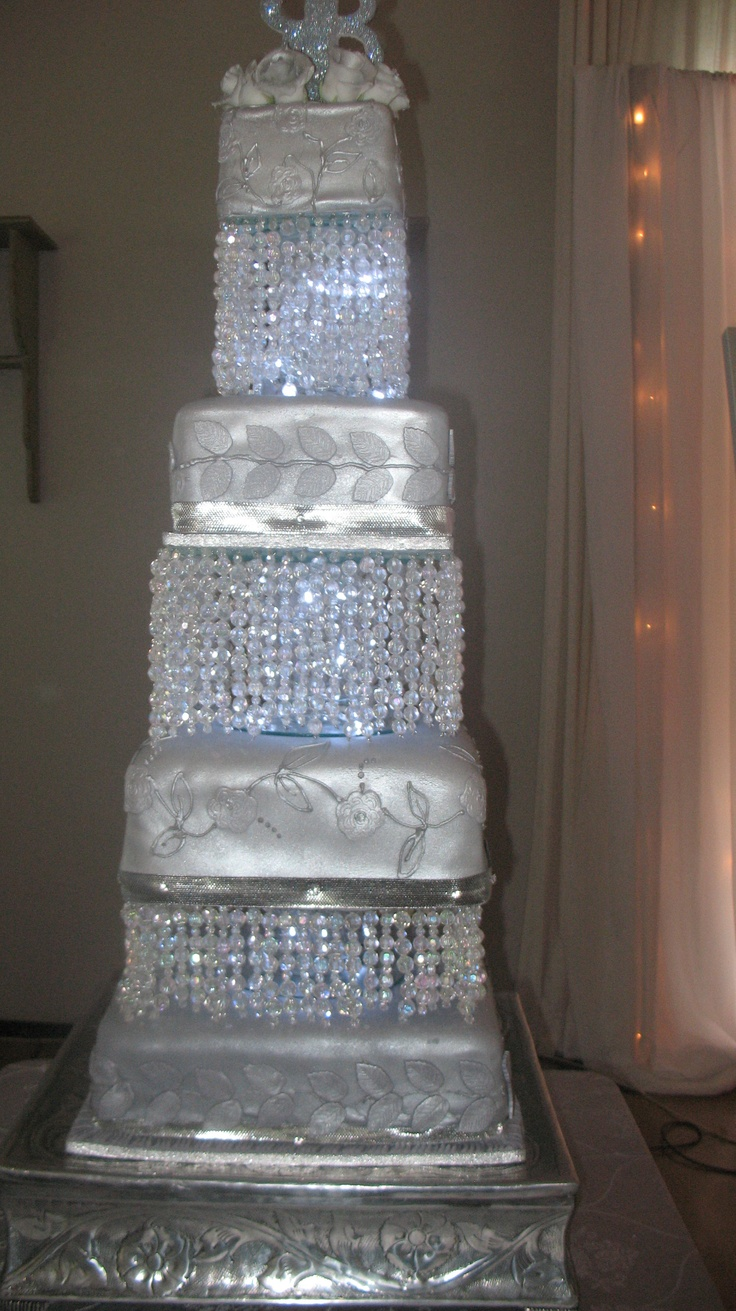 Silver and Crystals wedding cake - by Helen's Cake Craft . Nelspruit South Africa.