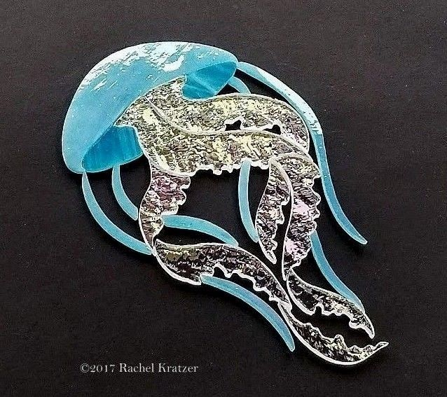 Iridescent JELLYFISH Precut Stained Glass Art Mosaic Inlay Kit Seascape Coastal Tile. Ready for use in your mosaic seascape project.    #RachelKratzer