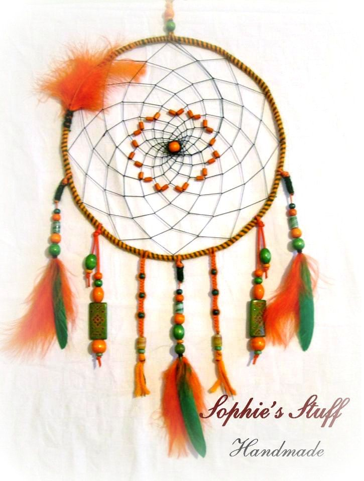 Orange dreamcatcher with hand-painted designs. by SophiesStuffHandmade on Etsy