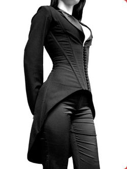 "shadesofbrixton: "" Corset suit. Source. "" And a really interesting modern design.. I like the corset-jacket style"