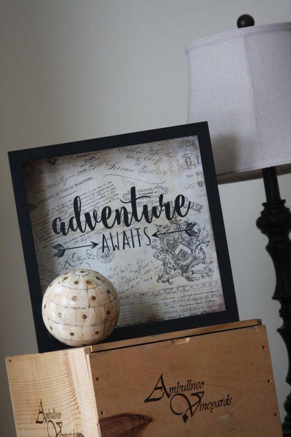 Adventure Awaits 12x12 Shadow Box: Ticket by LittleLostButtonUSA