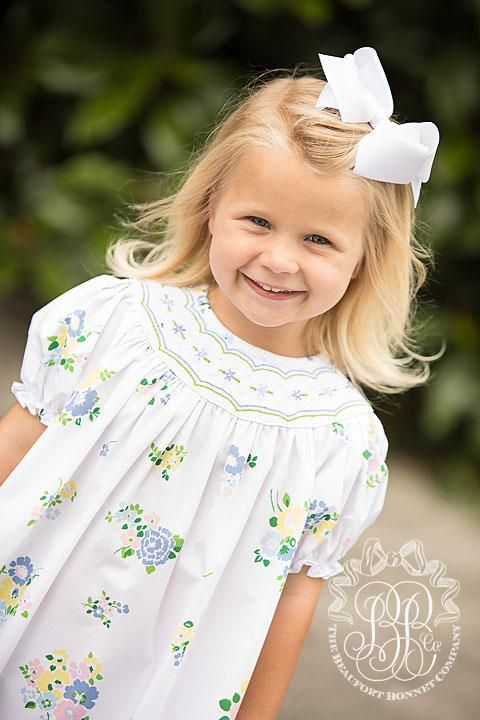 Sandy Smocked Dress - Biltmore Bouquet Blues with Smocking - The Beaufort Bonnet Company