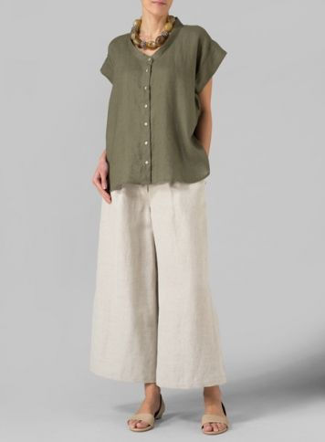 Olive Linen Button Front Cap Sleeve Top looks like the '9 Lives' 'Shapes' pattern and straight leg version One Seam Pants from 'Cutting Line Designs'