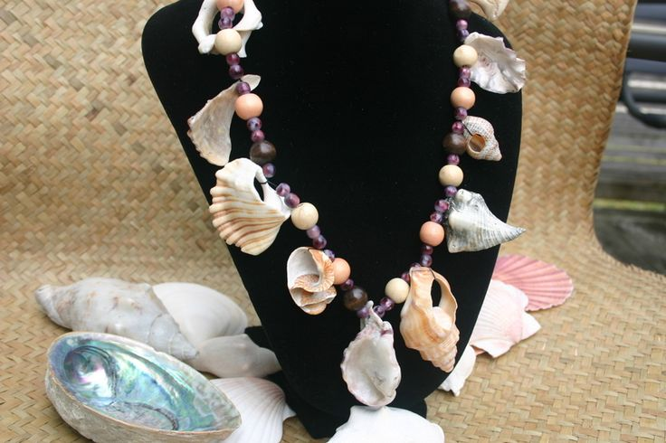 Beachcomber necklace - a variety of beachfinds from New Zealand's fabulous beaches turned into a bold necklace! #jewelry #handmade