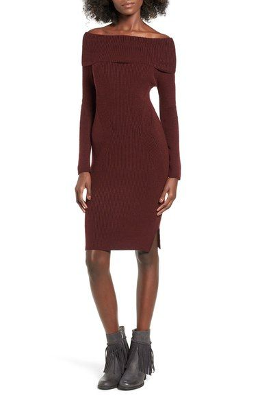 Cotton Emporium Off the Shoulder Knit Body-Con Dress available at #Nordstrom