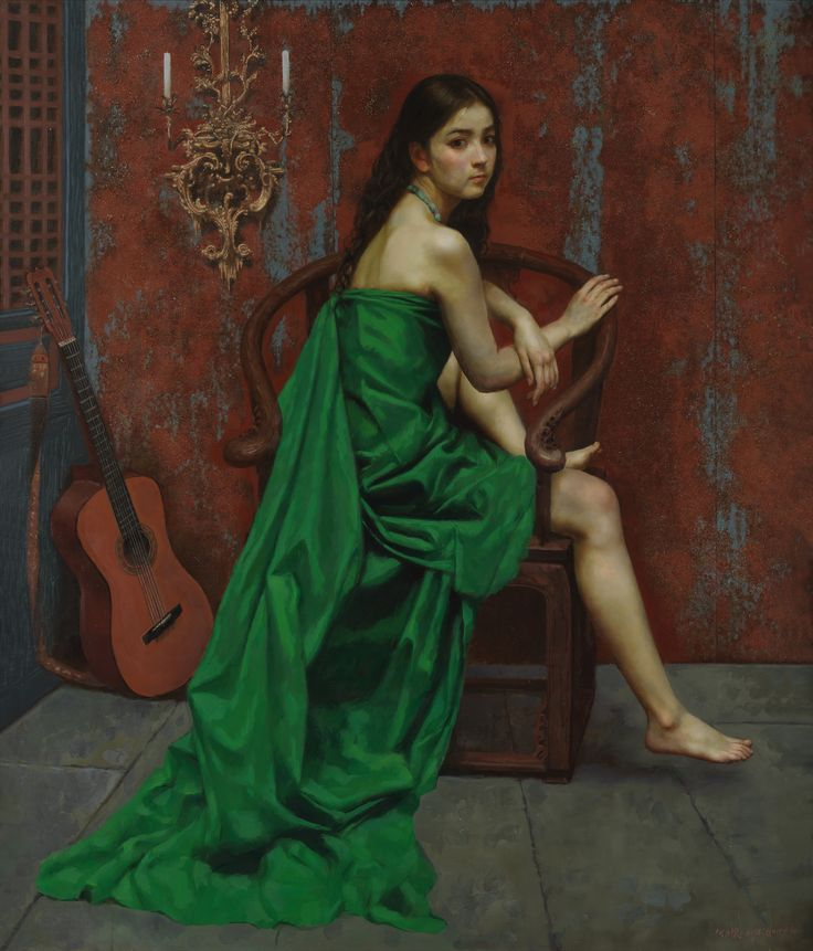 https://flic.kr/p/MSm8St | Lihuai He - The Green Girl in the Uncertain Background [2014] | Lihuai He was born in Chongqing in 1961. He worked as an art designer at Capital Museum from 1985 to 1996 after receiving Art of Bachelor degree in oil painting at Tianjin Academy of Fine Arts in 1984. As a member of Beijing Artists Association and a professional artist, he has been honoured as a very talented oil painter in contemporary China.  [Art Renewal Centre - Oil on canvas, 140 x 119.4 cm]