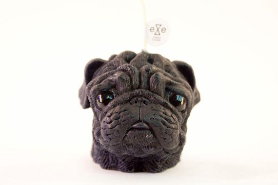 Pug dog scented candle Scent Black / Vanilla + Caramel  Size Candle - 7.5x 10x 9.5 cm, Weight 300g