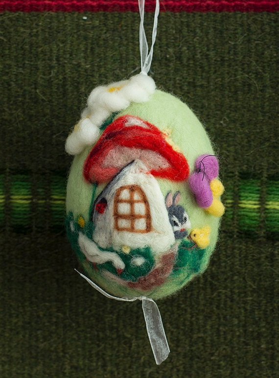 Needle felting white easter egg with mushroom wool by ElisCraft, $18.00