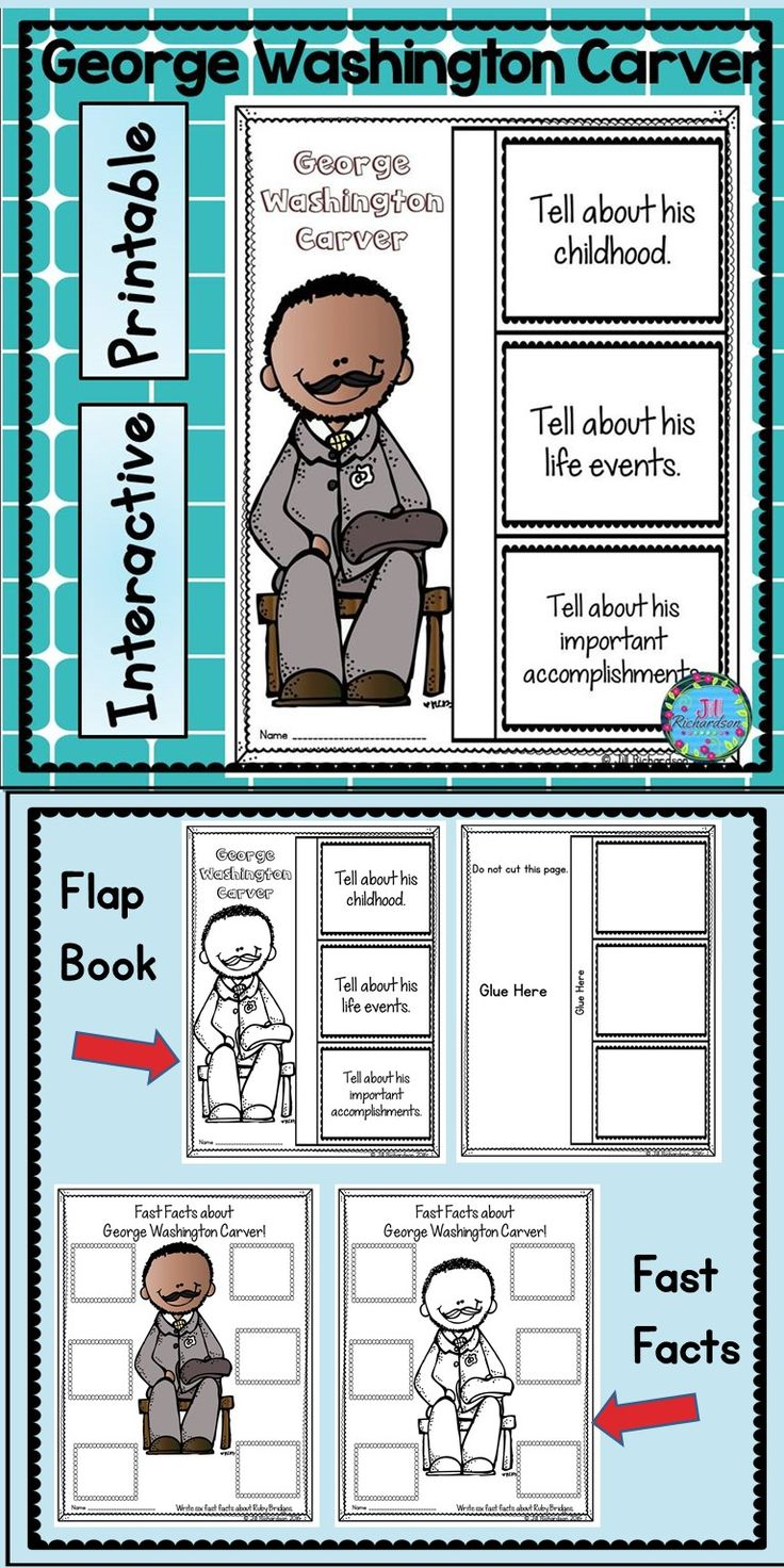George Washington Carver Activities: Use this graphic organizer and Flap book writing printable when learning about George Washington Carver. This resource includes two ways for your children to share what they have learned about him in writing. Flap Book Writing Printable (color and black and white) Fast Facts (color and black and white)