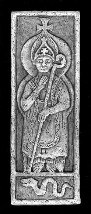 Portrait of St. Patrick~ A 15th c. carving of the patron saint of Ireland from Cty. Louth. Patrick, a Roman enslaved British nobleman who Christianized 5th c. Ireland, was also her greatest champion and the first on record to oppose slavery.