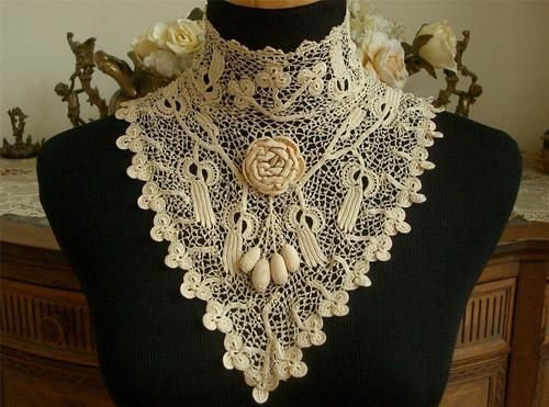 Superb Handmade Antique Vtg Edwardian Silk Irish Crochet Lace Wedding Collar | eBay