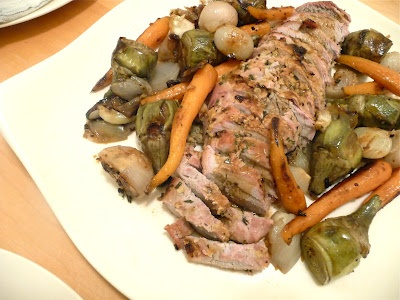 Spring dinner party: Herb and mustard pork tenderloin with baby artichokes, shallots and baby carrots and jus