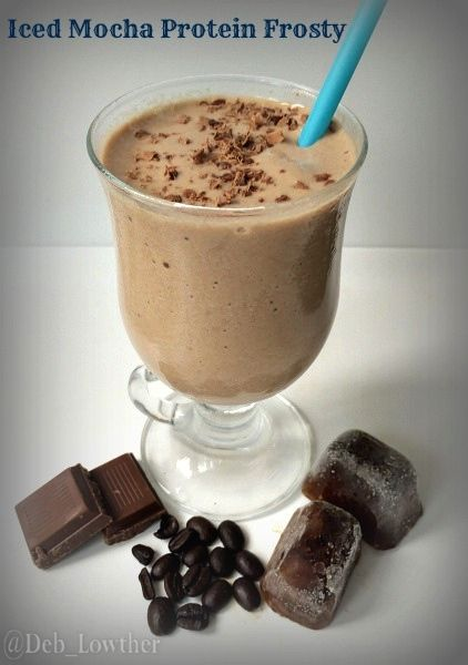 Is it breakfast, an iced coffee or an ice cream treat? This smoothie is so good, it deserves its' decadent name: Iced Mocha Protein Frosty.