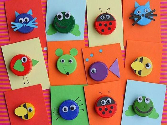 bottle cap animals craft
