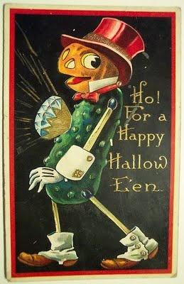 halloween vintage Halloween postcard...scary pickle guy!