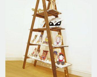 Indicación de la escalera de madera estantería, plegable de madera 'A' marco estante, pintadas de estilo Vintage urbano; 2 opciones de tamaño; estantes de 3 o 4 estantes
