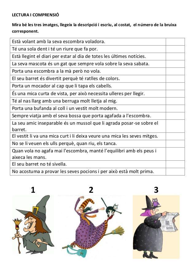LECTURA I COMPRENSIÓMira bé les tres imatges, llegeix la descripció i escriu, al costat, el número de la bruixacorresponen...