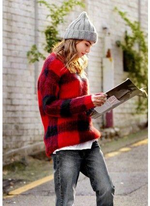 Fuzzy Plaid Sweater US$55.48  Free shipping worldwide  #fashion #jumper #knitwear #instagram