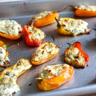 goat cheese stuffed peppers. I make these all the time, but using Greek feta cheese. Easy and delicious with rice. http://www.gourmetcheesedetective.com/