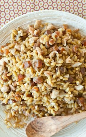 Nutty whole grain KAMUT khorasan wheat pairs deliciously with cashews and apricots in this flavorful pilaf. This whole grain retains its firm, chewy texture extremely well, making it a good make-ahead dish and an excellent choice for planned leftovers.