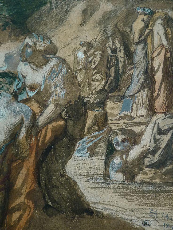 CHASSERIAU Théodore,1840 - Diane et Actéon, Etude - Détail 12