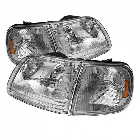 Spyder Auto HD-JH-FF15097-SET-AM-C | 1999 Ford F-150 Chrome/Clear Crystal Headlights for SUV/Truck/Crossover