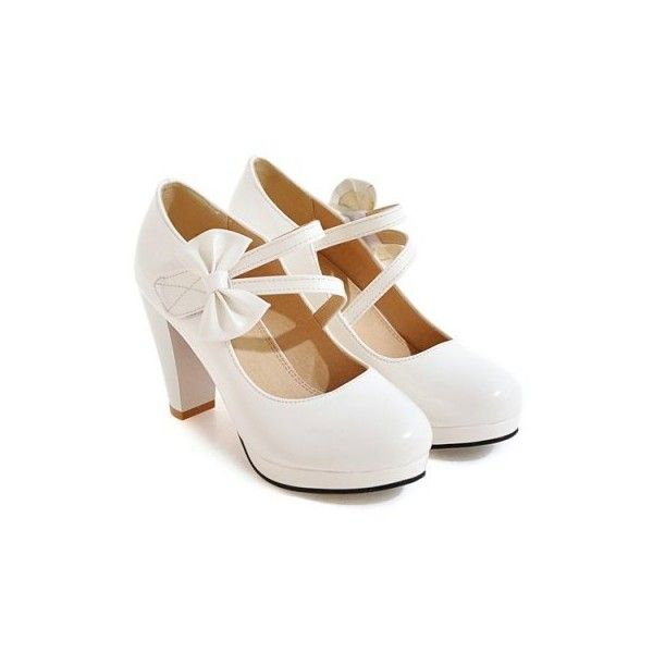 White 38 Block Heel Bowknot Pumps ($38) ❤ liked on Polyvore featuring shoes, pumps, block heel court shoes, block heel shoes, white block heel shoes, white court shoes and block heel pumps