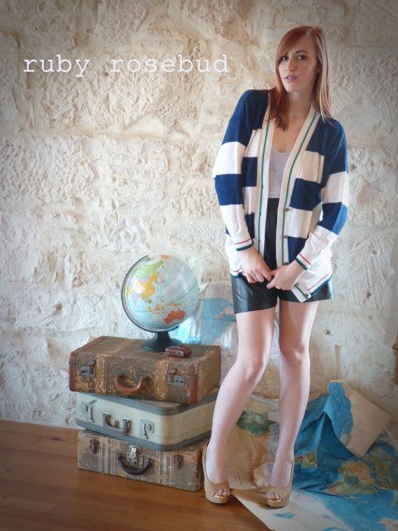 Vintage Nautical Cardigan Sweater by arubyrosebud on Etsy, $22.00