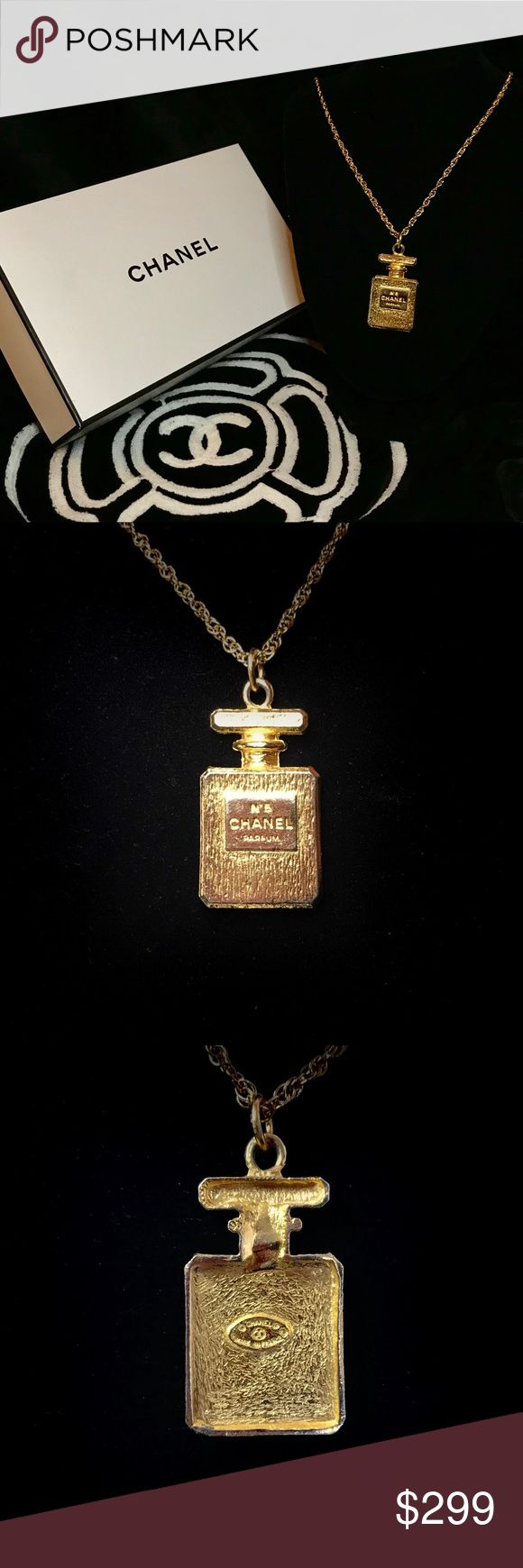 """Authentic Vintage CHANEL Pendant Necklace w/ Box 👉TRADE VALUE: $500👈  ✨ EXCELLENT VINTAGE CONDITION Authentic Vintage Stamped CHANEL No.5 Bottle Pendant mounted on a 36"""" gold chain. Pendant measures 1"""" x 2"""".  ✨ Includes CHANEL Keepsake Box (box has a few faint marks on top). CHANEL Jewelry Necklaces"""
