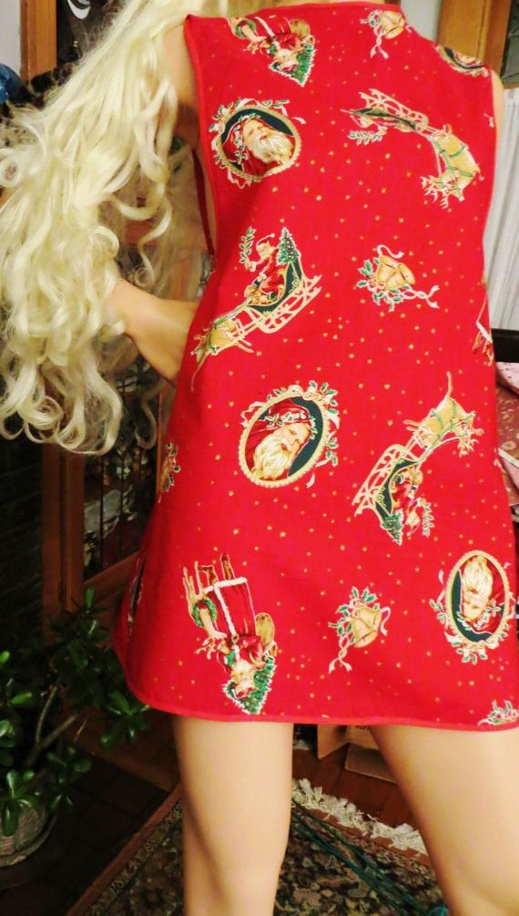 Christmas Full Apron with Santa and Reindeer. Cotton Holiday Cuteness by CatBazaar on Etsy