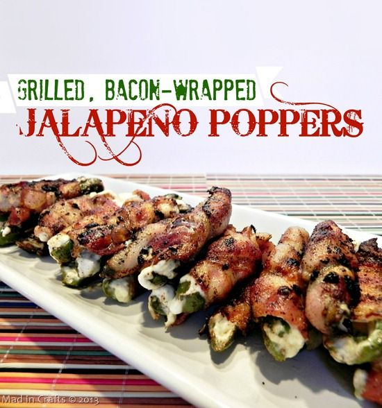 Grilled, Bacon-Wrapped Jalapeno Poppers