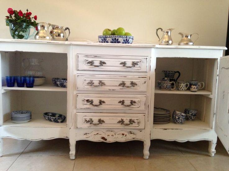 Vajillero provenzal blanco decapado vajilleros franceses - Muebles antiguos restaurados ...