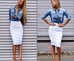 White Pencil skirt, chambray shirt, and gold necklaces