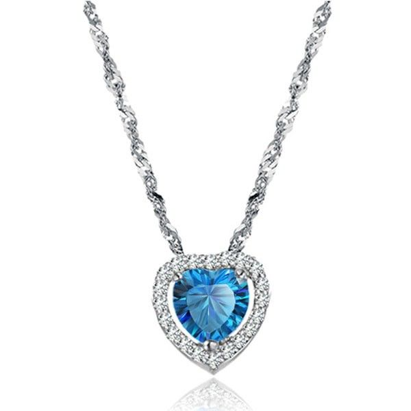 This item is Heart Shape Big Blue Diamond Plating Platinum Wave Chain Necklace for Women. The graceful and beautiful necklace is catering to lady's different aesthetic value. The unique design make it charming and delicate. According to your own personal preferences, you can match it with beautiful clothes at different seasons
